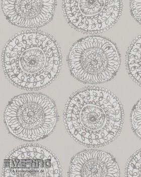 Marburg Zuhause Wohnen 4 6-57127 Kreise hell-grau Tapete Blumen