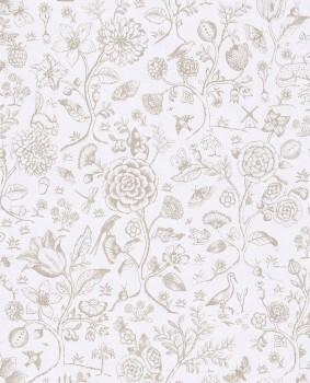 Eijffinger PIP Studio 55-375010, Vliestapete taupe weiß Blumen