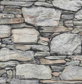 Rasch Textil Reclaimed 23-022304 Stein-Tapete grau Vliesträger