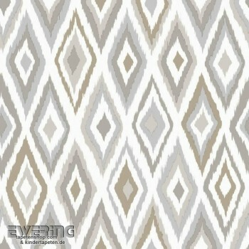 23-148630 Cabana Rasch Textil sand-grau Ethno-Muster Tapete