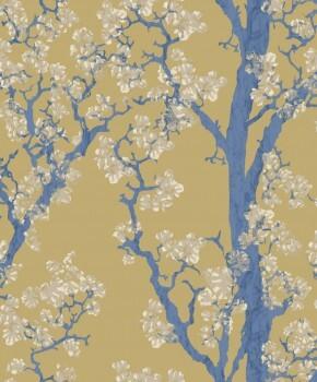 Bäume Senfgelb Blau Tapete 62-SAU210612 Tenue de Ville SAUDADE
