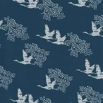 Vögel Tapete Blau
