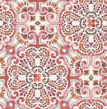 23-024043 Rasch Textil Restored Tapete Malerei rot orange Ornament