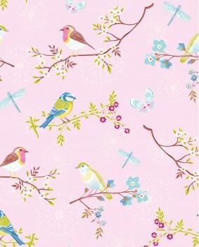 Eijffinger PIP Studio 55-375082, Vliestapete rosa bunte Blumenmuster