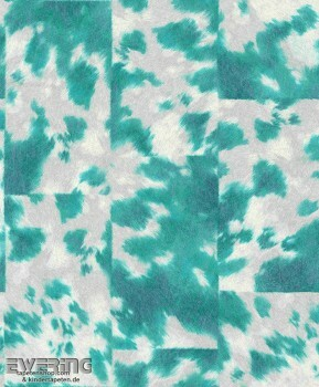 7-498219 Pop Skin Rasch petrol-blau Vliestapete Kuhflecken
