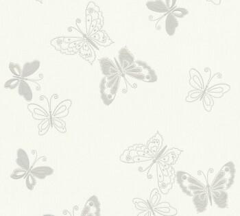 Vliestapete AS Creation Happy Spring 8-34766-1 grau Schmetterlinge