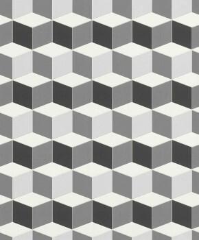 Grau Weiß Geometrisch Muster-Tapete Silber