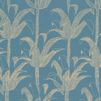 Türkis-Blau Gold Palmen Tapete 62-SPI230106 Tenue de Ville SPICE