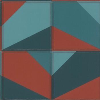 Vliestapete Blau-Rotes Muster Lederoptik Rasch Club 419269