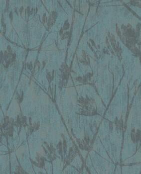 55-379053 Eijffinger Lino Petrol Blumen Vliestapete Glanz gold