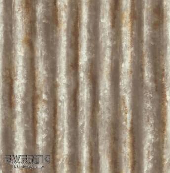 23-022334 Reclaimed Rasch Textil silber Vliestapete rostbraun