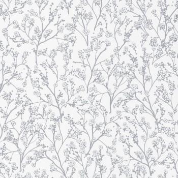 Blumenranken Tapete Weiß Silber