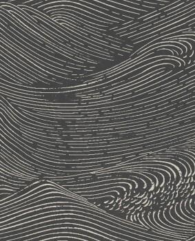 55-386532 Eijffinger Enso Wellen Vliestapete schwarz