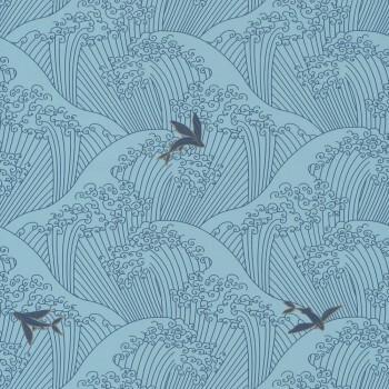 Vliestapete Wellen Blau