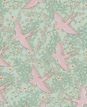 Vliestapete Grün-Rosa Vögel Mädchen
