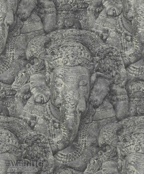 Rasch Crispy Paper 7-525502 Elefanten-Buddha Vliestapete schwarz