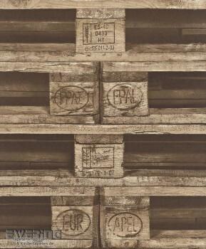 Rasch Crispy Paper 7-524116 Vlies-Tapete braun Holz Paletten