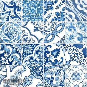 23-148636 Cabana Rasch Textil blau Fliesen-Muster Vliestapete