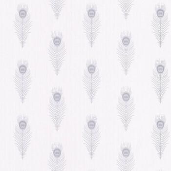 Caselio - Scarlett 36-SRL100460096 Texdecor Federn weiß silber Vliestapete